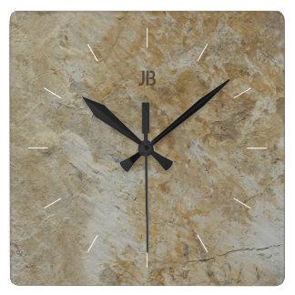 Relógio Quadrado Imagem de pedra textured natural da CARA   da