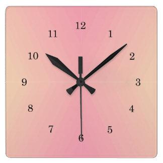 Relógio Quadrado Inclinação cor-de-rosa Textured