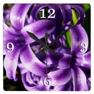 Relógio Quadrado Jacinto azul eu salto floral