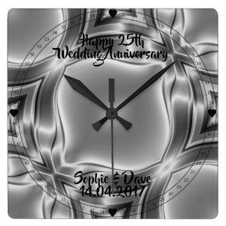 Relógio Quadrado Linhas 25o aniversário da prata de casamento de
