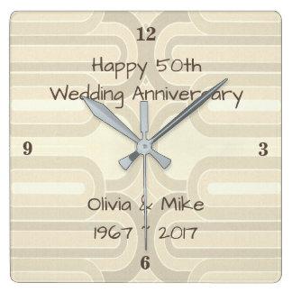 Relógio Quadrado Linhas Curvy 25o casamento de prata Anniversar de