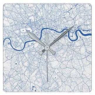 Relógio Quadrado Londres Urban Pattern Clock BLUE