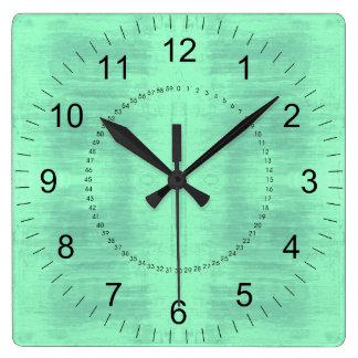 Relógio Quadrado Luz - teste padrão Textured verde