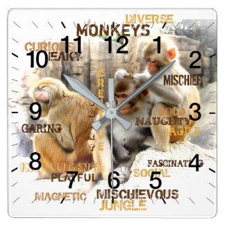 Relógio Quadrado Macacos