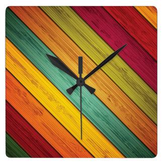 Relógio Quadrado Madeira diagonal de Planked das cores preliminares