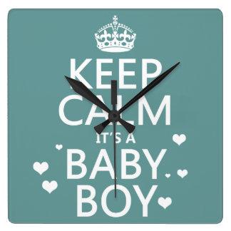 Relógio Quadrado Mantenha a calma que é um bebé