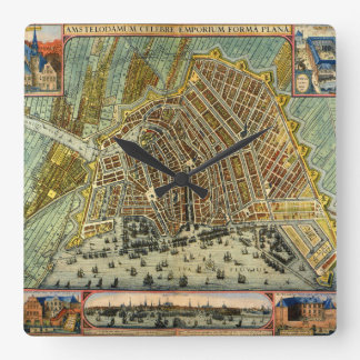 Relógio Quadrado Mapa antigo de Amsterdão, Holland aka Países