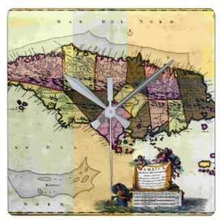 Relógio Quadrado Mapa de Jamaica 1680 do vintage