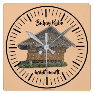 """Relógio Quadrado Munti """"cor bahay natural do kahit do kubo de Bahay"""