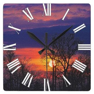 Relógio Quadrado Nascer do sol do alvorecer & arte 2 da natureza
