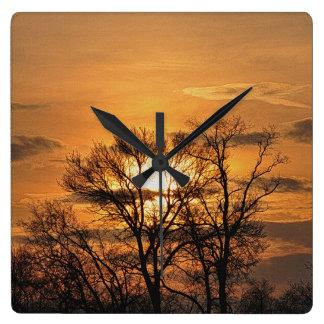 Relógio Quadrado Nascer do sol do alvorecer & arte 3 da natureza