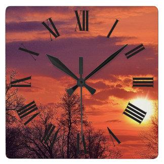 Relógio Quadrado Nascer do sol do alvorecer & arte da natureza dos
