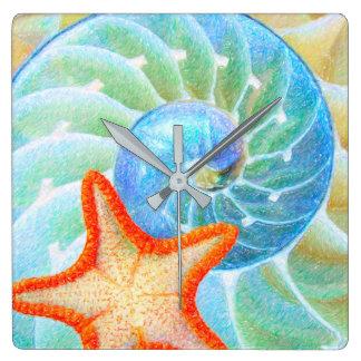 Relógio Quadrado Nautilus e estrela do mar