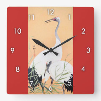 Relógio Quadrado o 丹頂鶴, 小原古邨 Vermelho-coroou o guindaste, Ohara