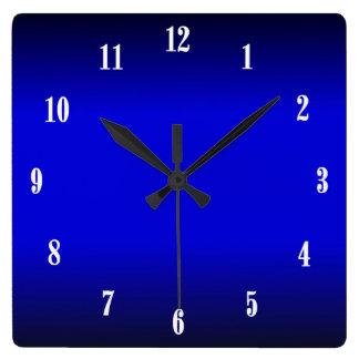 Relógio Quadrado O branco elétrico dos azuis cobaltos numera o