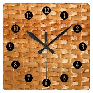 Relógio Quadrado O olhar da textura de vime de Basketweave da laca