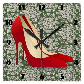 Relógio Quadrado o salto alto vermelho calça o pulso de disparo