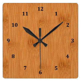 Relógio Quadrado Olhar de madeira da grão do brinde de bambu