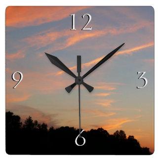 Relógio Quadrado Paisagem de Maryland do por do sol de Elkridge