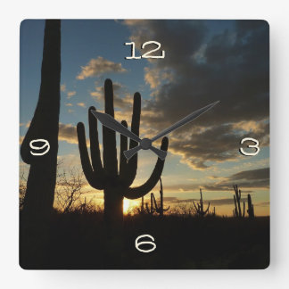 Relógio Quadrado Paisagem do deserto da arizona do por do sol II do