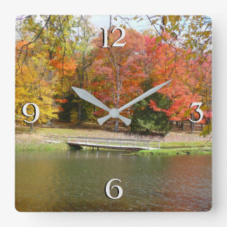 Relógio Quadrado Paisagem do outono da ponte III da queda de sete