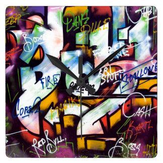 Relógio Quadrado Palavras coloridas dos grafites