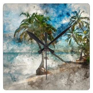 Relógio Quadrado Palmeira no Ambergris Caye Belize