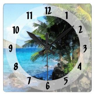 Relógio Quadrado Palmeiras e praia St Thomas VI