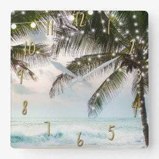 Relógio Quadrado Palmeiras & luzes tropicais do oceano da praia