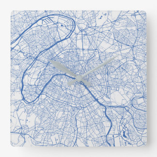 Relógio Quadrado Paris Urban Pattern Clock BLUE