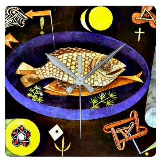 Relógio Quadrado Paul Klee que pinta, Aroundfish