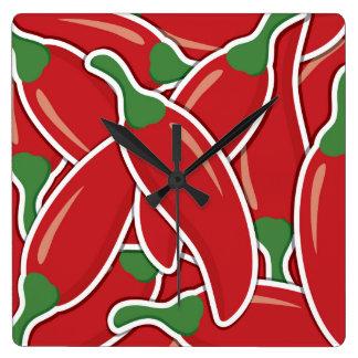Relógio Quadrado Pimentas vermelhas Funky