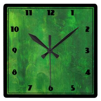 Relógio Quadrado Pintura do abstrato do fundo de Forest Green