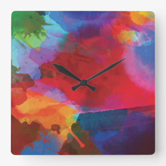 Relógio Quadrado Pintura espirrada das cores preliminares