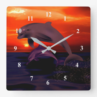 Relógio Quadrado Por do sol alaranjado de salto náutico do oceano