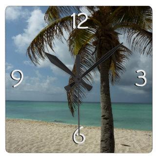 Relógio Quadrado Praia de Aruban mim cena bonita da natureza