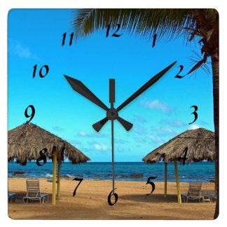 Relógio Quadrado Praia tropical