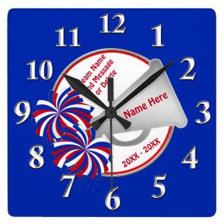 Relógio Quadrado Presentes brancos e azuis vermelhos do elogio para
