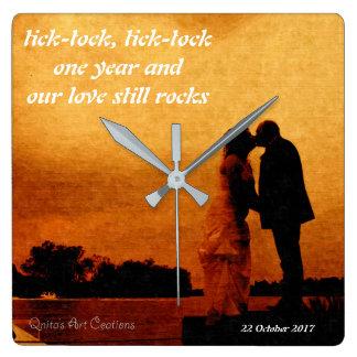 Relógio Quadrado Primeira lembrança do aniversário de casamento do