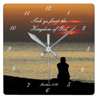 Relógio Quadrado Procure o primeiro reino de deus, Matthew 6, por
