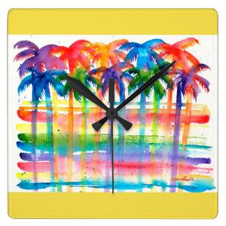 Relógio Quadrado Pulso de disparo da arte da palmeira