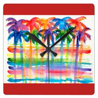 Relógio Quadrado Pulso de disparo da palmeira