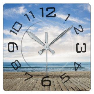 Relógio Quadrado Pulso de disparo de parede da paisagem da praia do