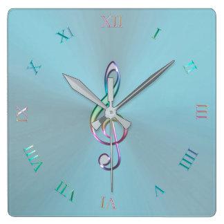 Relógio Quadrado Pulso de disparo Pastel metálico do Clef da música