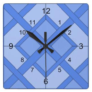 Relógio Quadrado Pulso de disparo - quadrados entrelaçados no azul