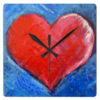 Relógio Quadrado Pulso de disparo vermelho do coração