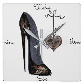 Relógio Quadrado Pulsos de disparo da arte dos calçados do estilete