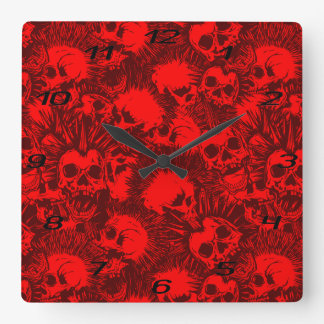 Relógio Quadrado punk do crânio