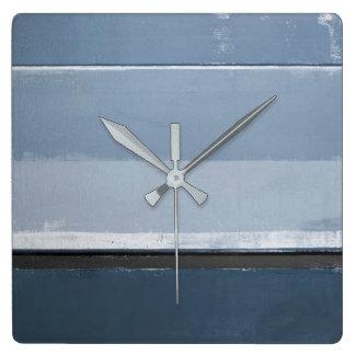 """Relógio Quadrado """"Revele"""" a arte abstracta azul e cinzenta"""
