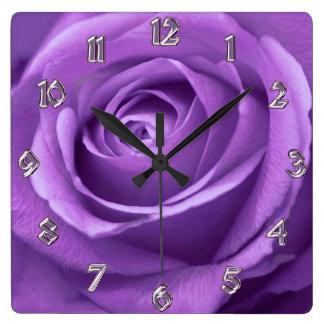 Relógio Quadrado Roxo e pulso de disparo cor-de-rosa da lavanda